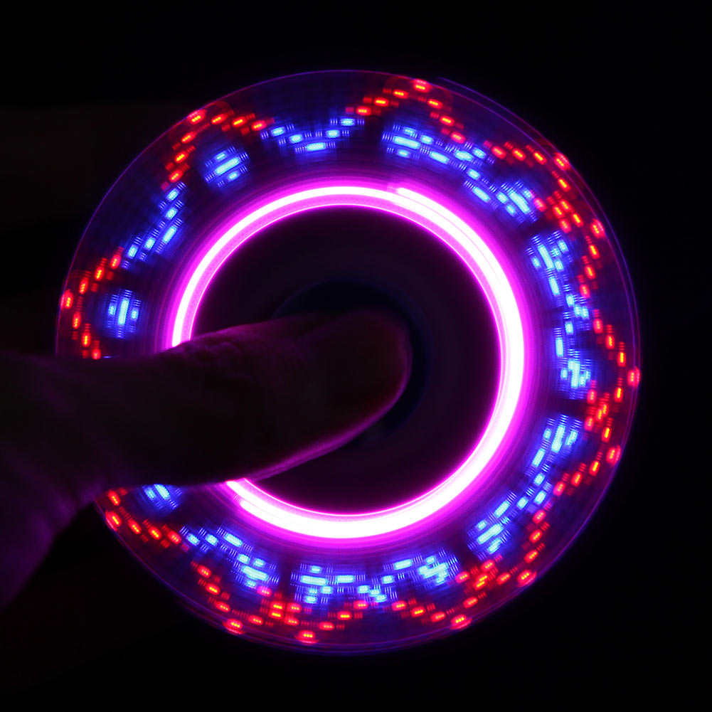LED USB Rainbow Light Fidget Spinner Finger Plastic EDC Hands Spinner For Autism and ADH ...