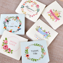 1Pcs European creative flower English folding Christmas Greeting Card Postcard  Letter Envelope Gift Card Set Message Card E0412