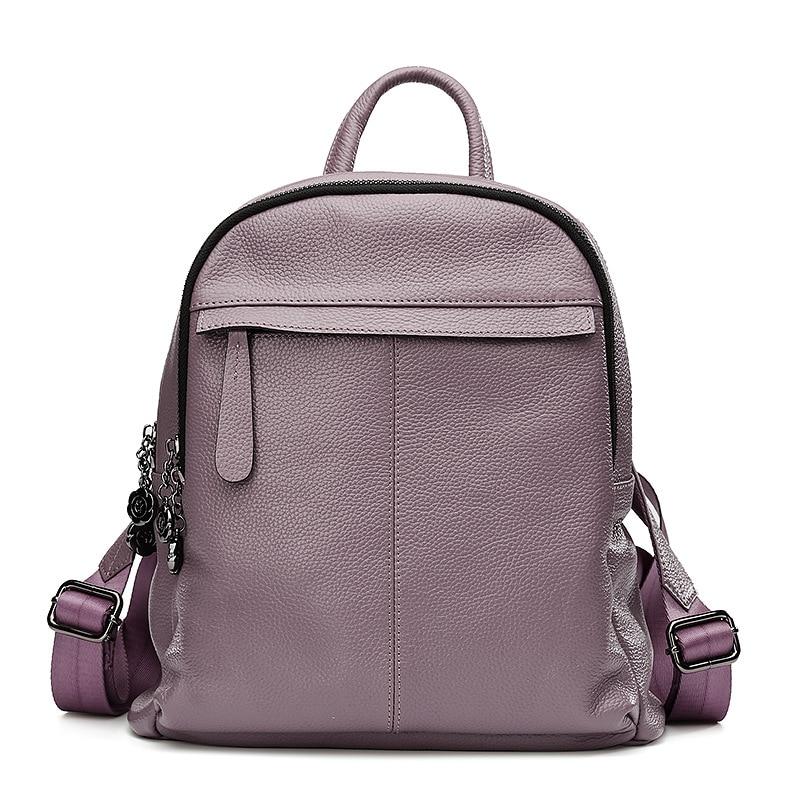 LOEIL Bag leather shoulder bag female Korean version of the tide college wind simple wild lady backpack