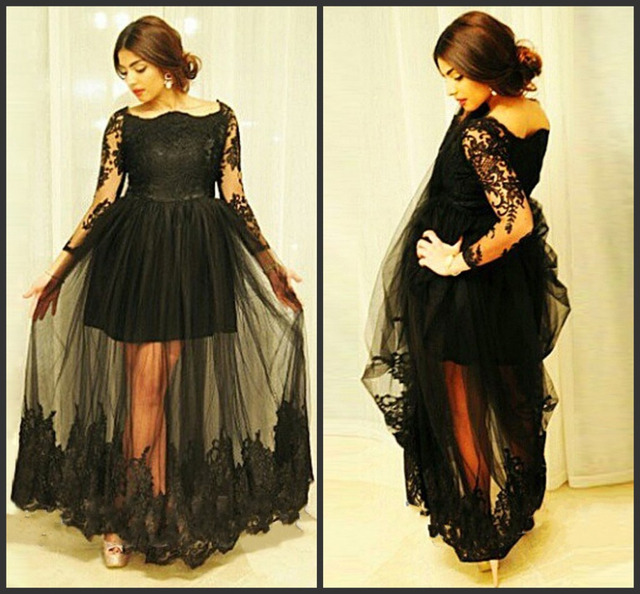 Plus Size Long Masquerade Prom Dresses For Woman Custom Made 2017 Tulle See  Through Sexy Black Long Sleeve Evening Dresses 1b6c3fac51dd