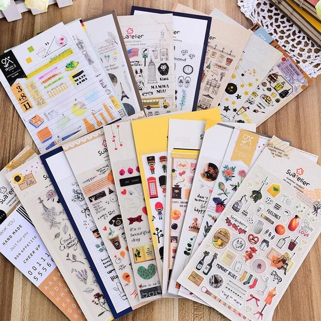 1pack/lot Kawaii Korea Fashion Vintage Life Mix Paper Sticker Hot Sell Students' Decoration Diary Sticker Office School Supply