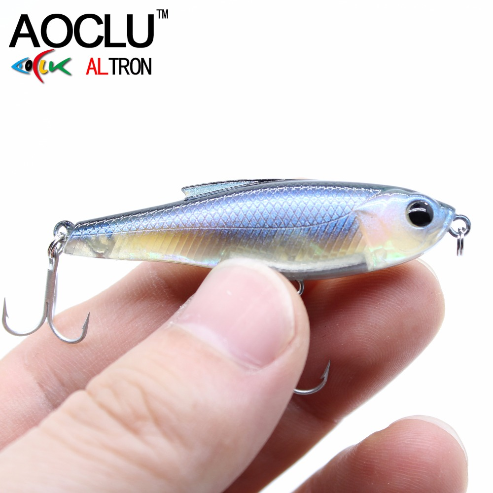 где купить  AOCLU wobblers Super Quality 6 Colors 48mm Hard Bait Minnow Crank Popper Stik Fishing lures Bass Fresh Salt water 12# VMC hooks  дешево