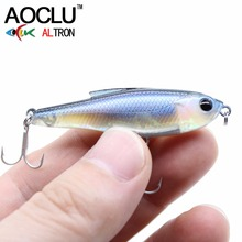 AOCLU wobblers Super Quality 6 Colors 48mm Hard Bait Minnow Crank Popper Stik Fishing lures Bass Fresh Salt water 12# VMC hooks
