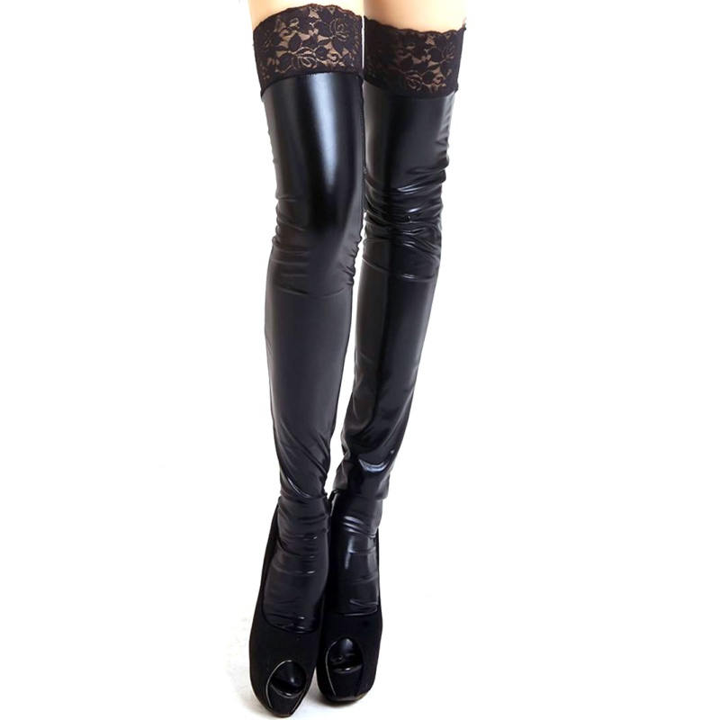 Women Sexy Lace Stay-Up Stocking Lady Wet Look Faux Leather Thigh High Stockings 3 Color