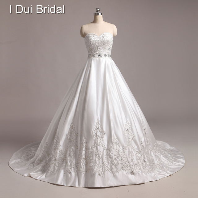 Embroidery Gl Crystal Beaded Luxury Ball Gown Wedding Dress Custom Make Real Image Photo Sweetheart