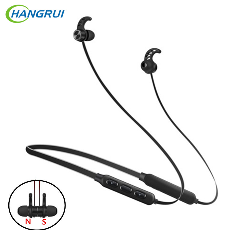 HANGRUI Bluetooth Earphone Sport Wireless Headphones with Mic stereo Magnetic Bluetooth Headset  for iphone xiaomi Android phone wireless bluetooth earphone headphones s9 sport earpiece headset with tf card slot 8g auriculares with micro for iphone android