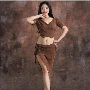 Image 4 - 저렴한 도매 댄서 의상 여성 샤인 Bellydance 의류 여름 짧은 소매 탑 섹시한 V 넥 스커트 커피 블랙 퍼플