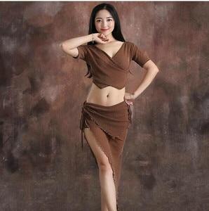 Image 4 - Cheap Wholesale Dancer Costume Women Shine Bellydance Clothes Summer Short Sleeve Top Sexy V Neck Skirt Coffee Black Purple