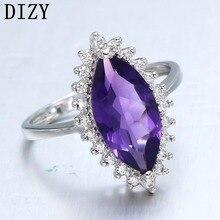 DIZY маркиза 2.4CT кольцо с натуральным аметистом 925 пробы Серебряное кольцо с драгоценным камнем для женщин подарок Свадебные ювелирные изделия, обручальное кольцо