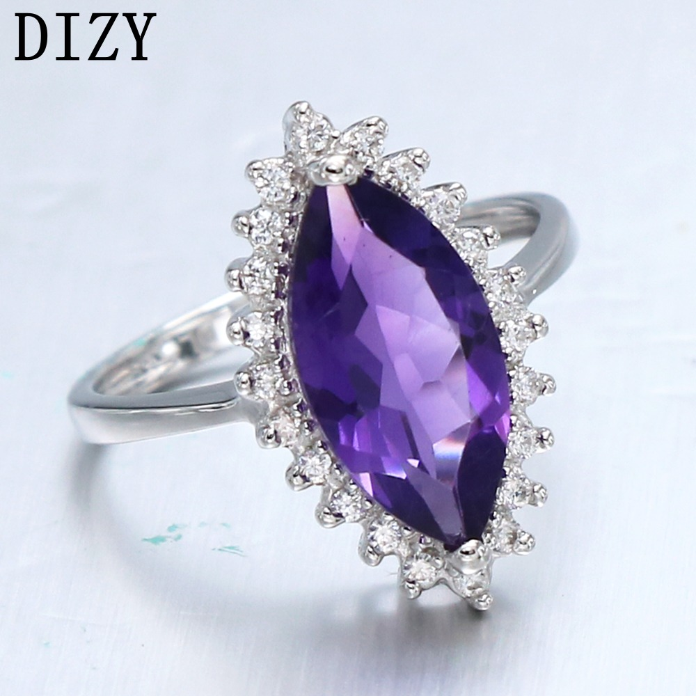 DIZY Marquise 2.4CT Natural Amethyst Ring 925 Sterling Silver Gemstone Ring for Women Gift Wedding Ring Engagement Jewelry