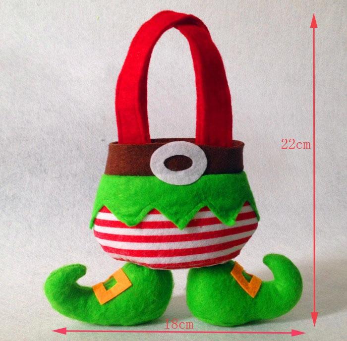 도매 100pcs / Lot 9 인치 엘프 사탕 가방 크리스마스 선물 가방 크리스마스 장식 용품 무료 배송