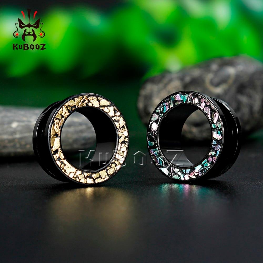 US $3 69 |Kubooz piercing surgical steel ear tunnels black iridescence  screw plugs body jewelry flesh gauges pair selling earrings-in Body Jewelry