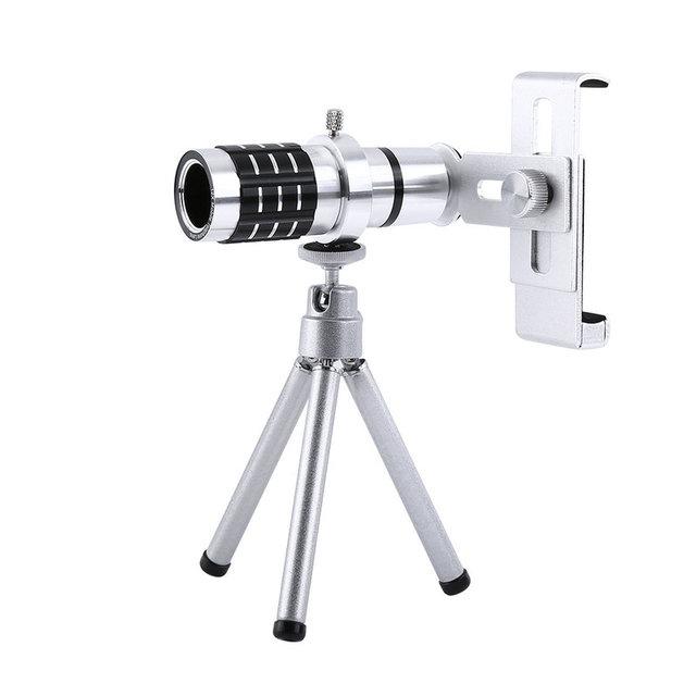 12x de zoom de la cámara teleobjetivo telescopio de la lente + kit de montaje de trípode para iphone android teléfono inteligente universal