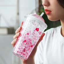Food Grade Plastic Water Bottle with Straw Cherry Flower Cups For Drink My Bottles Cute Pink Mugs Girl Tumbler