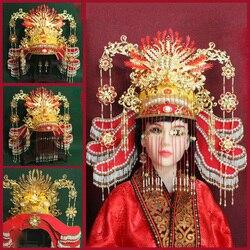 Gorgeous Ming Dynasty Empress Red Wedding Phoenix Tiara Ancient Chinese Traditional Crown Headwear Tassel Dragon Phoenix Tiara