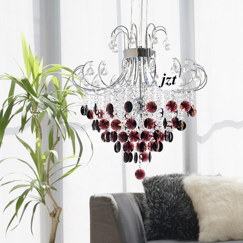 Moderne Glanz Transparent Lila Schwarz Kristall Kronleuchter E14 Led Leuchten Restaurant Wohnzimmer Hochzeitszimmer Lampe