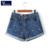 Mujeres de la manera de corea del verano de la flor del plátano vangull bordado algodón rizar más el tamaño ocasional femenina pantalones cortos de mezclilla cintura