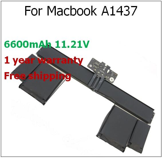 A1437 6600mAh Laptop Battery for MacBook Pro 13 Retina A1425 MD212LL/A*, ME662LL/A for apple A1437 A1425