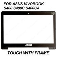 "For Asus Vivobook S400 S400C S400CA 14"" LCD Touch Screen Glass JA-DA5343RA digitizer panel bezel front glass with frame(China)"