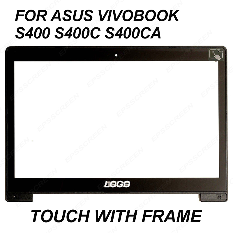 Para Asus Vivobook S400 S400C S400CA 14 LCD pantalla táctil Pantalla de Cristal JA-DA5343RA panel digitalizador bisel frontal de vidrio con marco