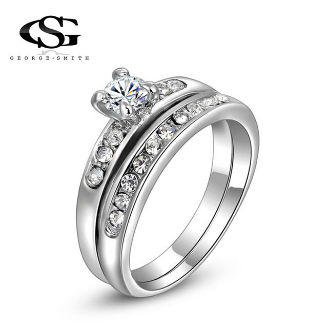 Gs Jewelry Promise Engagement Double Rings For S Men Women Silver Color Pairs Wedding Ring Sets
