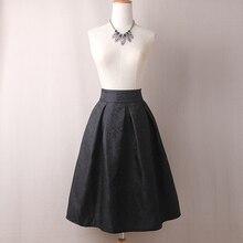 Women Skirts High Waist Pleated Midi 2017 Spring Summer Vintage Skirt Work Wear Hepburn Skirts Lady  American  Europe Saia