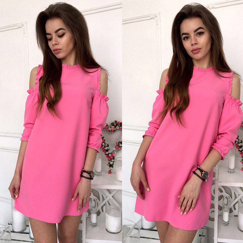 2018-ruffles-cold-shoulder-fashion-summer-dress-women-lantern-sleeve-solid-casual-straight-dress-lady-sexy-party-mini-dresses