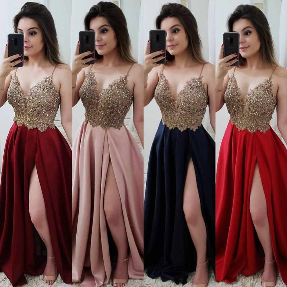 Sexy col en V rose bordeaux rouge bleu marine robes de bal longue 2019 perlée Appliques réfléchissantes robe côté fente robes de soirée - 6