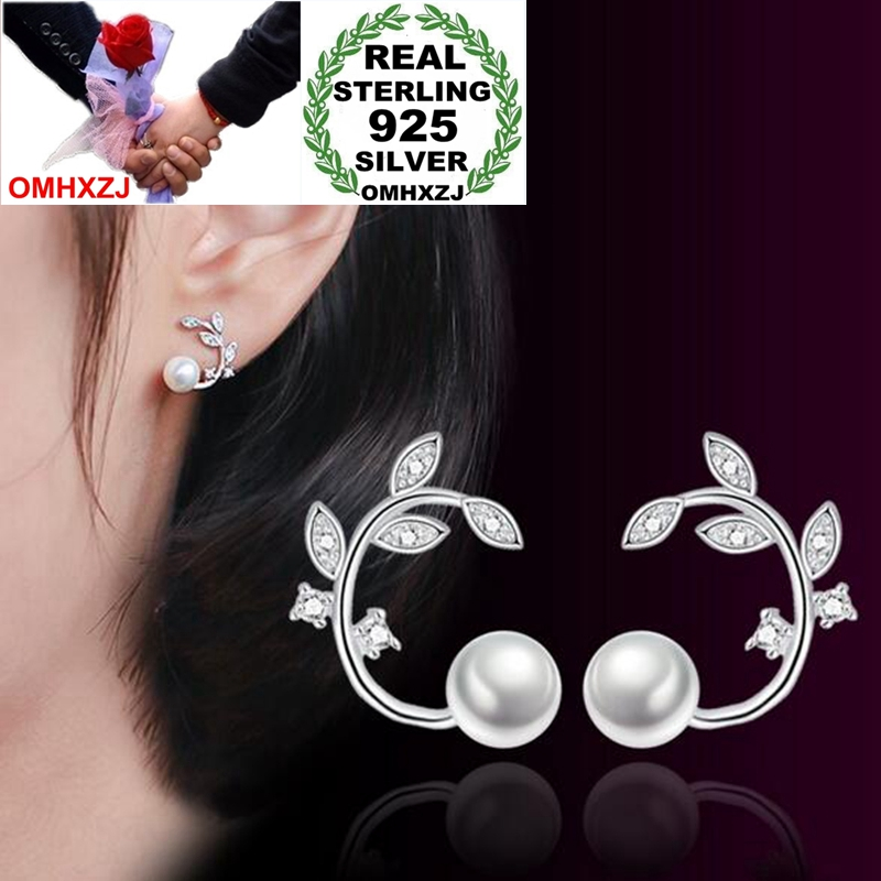 OMHXZJ Wholesale Sweet Fashion OL Woman Lady Party Gift Fresh Flower Branch Zircon Pearl 925 Sterling Silver Stud Earrings YS360