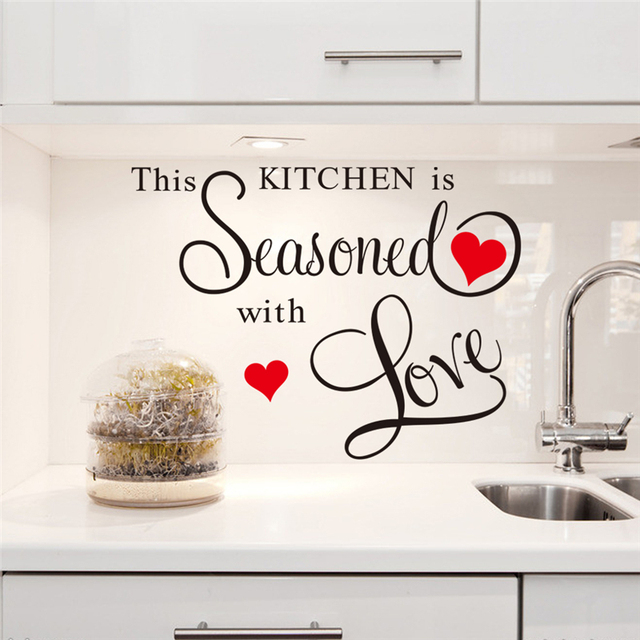 This Kitchen Is Seasoned With Love Vinyl Wall Stickers Quotes Kitchen Room  Indoor Wall Art Decor