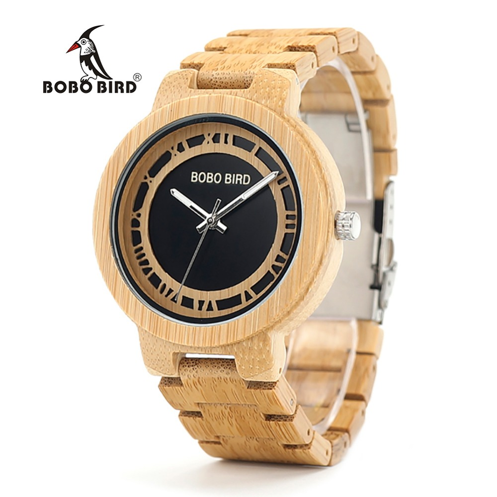 BOBO BIRD WN19 Wooden Watch Roman Digital Face Top Brand Luxury Clock for Men Best Gifts Items In Wooden Box 2017 pure face design wooden watch for