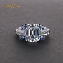 OneRain Vintage 100% 925 Sterling Silver Emerald Citrine Sapphire Aquamarine Gemstone Wedding Engagement Couple Ring Jewelry