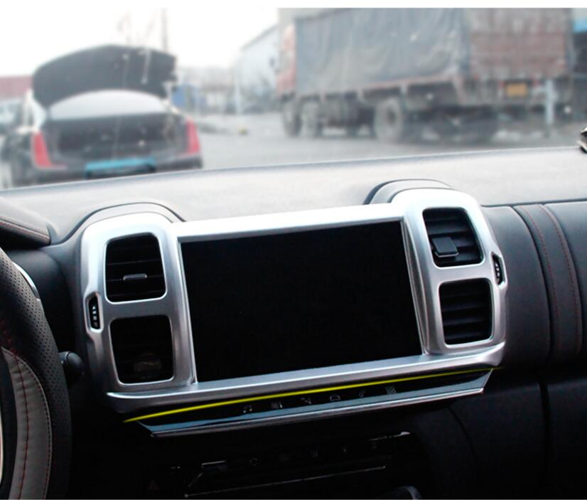 Pour citroën C5 Aircross 1 PC ABS Chrome voiture panneau de commande de Navigation intérieure climatiseur sortie cadre garniture voiture style