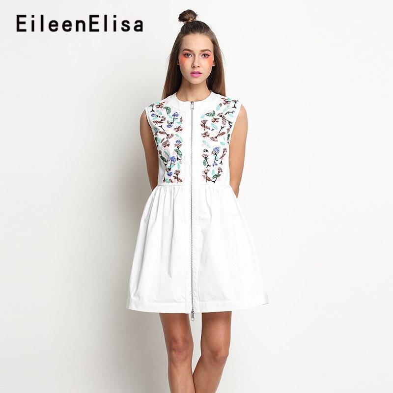 912e2c53b2 Frente Zipper Vestidos New Style 2018 A Linha Branca Sem Mangas Vestido de Verão  Mulheres
