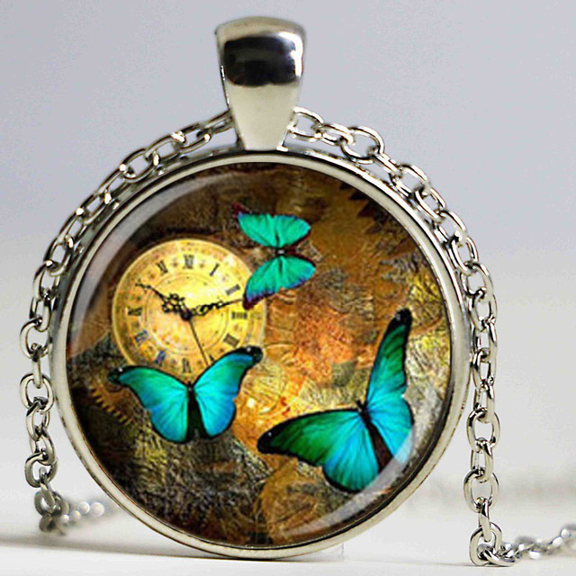 Wholesale glass dome steampunk clock pendants steampunk watch wholesale glass dome steampunk clock pendants steampunk watch necklace butterfly necklace for friends with high quality mozeypictures Image collections