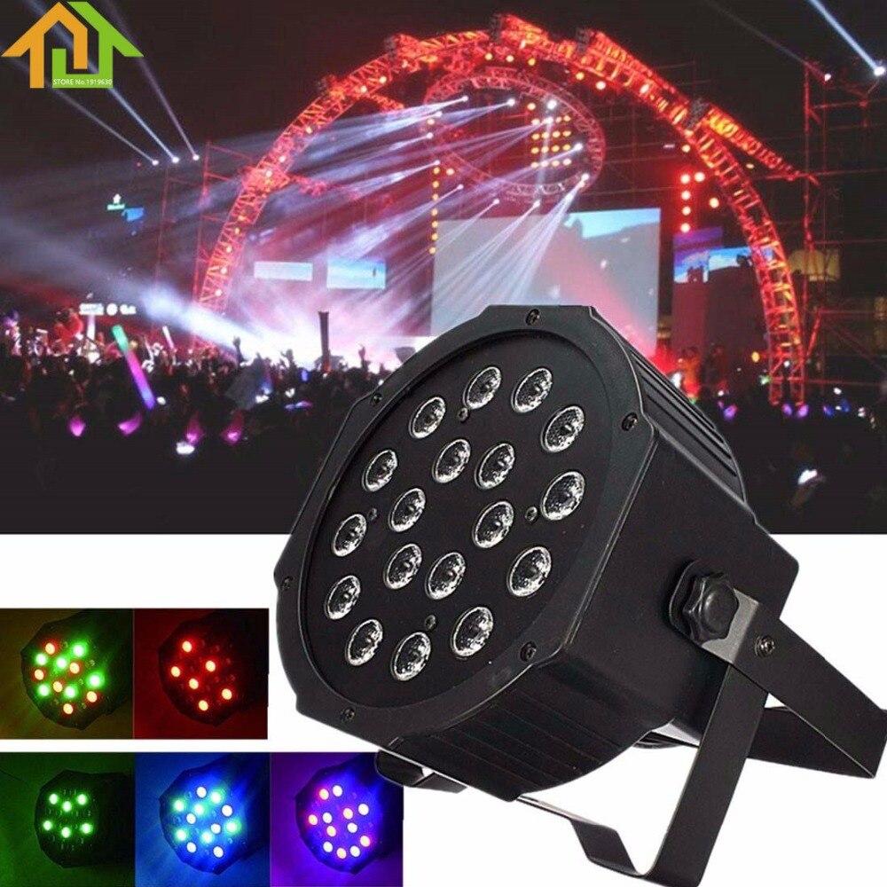 18W RGB LED Stage Light Par DMX-512 Lighting Laser Projector Party DJ Lamp 2pcs par 24w rgb led stage light disco dj bar christmas wedding party laser projector lighting dmx 512 strobe lo