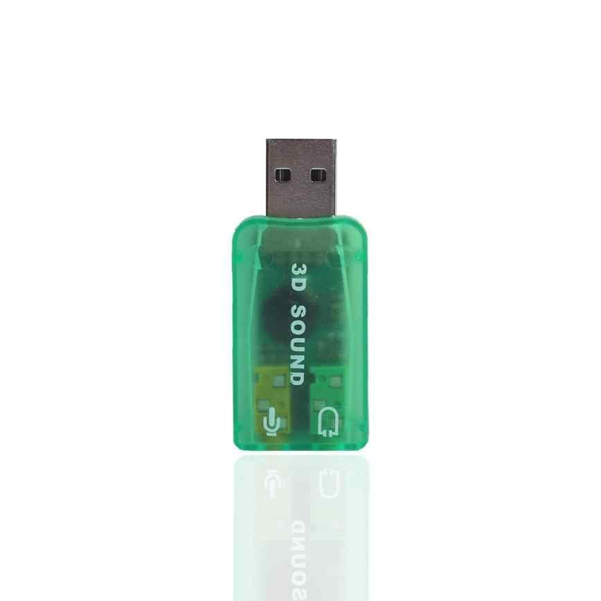 オーディオアダプタコネクタ 3D usb サウンドカードオーディオインタフェースサウンドカード 5.1 USB 3.5 ミリメートルマイクヘッドフォンジャックステレオヘッドセット