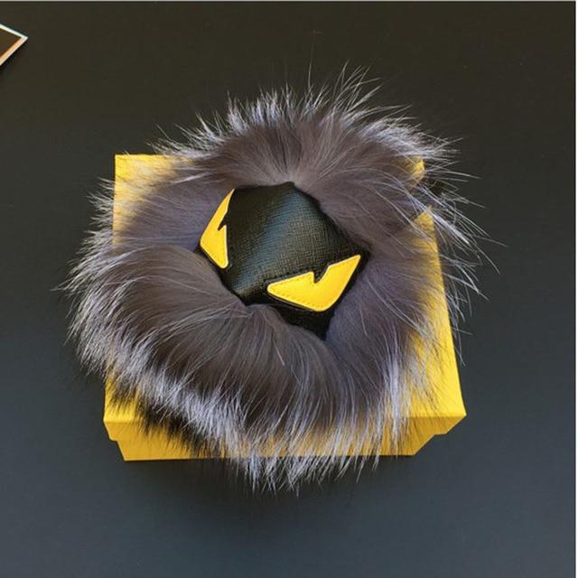 Real fox fur monster doll key chain Top leather wallet Pom Pom charm luxury golf cart bag pendant strap fur keychain