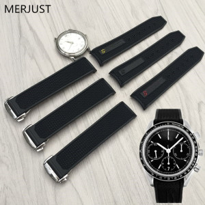MERJUST 22mm Rubber Silicone Watch Strap Original Quality Folding Buckle Watchband Perfert for Omega Speedmaster Wrist Watch