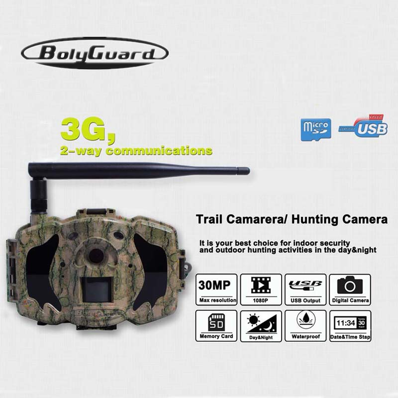 Bolyguard Hunting Camera 30MP 1080HD MMS/GPRS 3G Wildlife Game Scouting 940nm IR Night Vision 100ft Detection Security Camera|Hunting Cameras| |  - title=