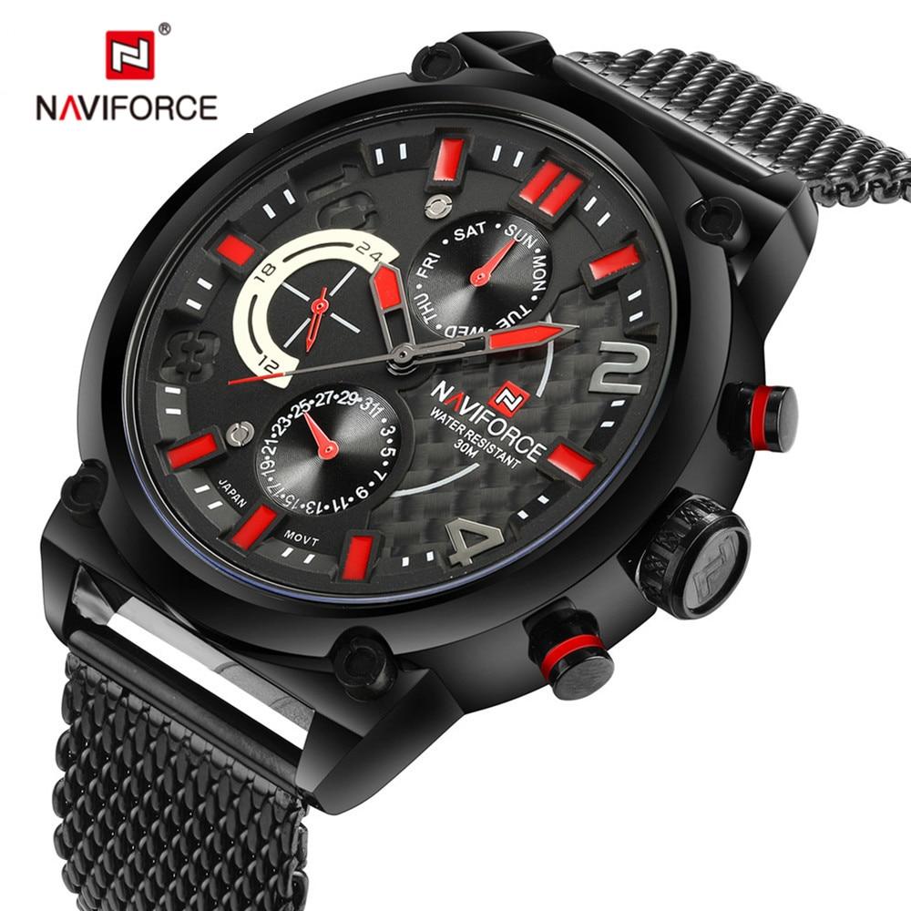 ФОТО 2017 NAVIFORCE watches men Army military stainless steel fashion sports men watch big dial Analog quartz watch relogio masculino