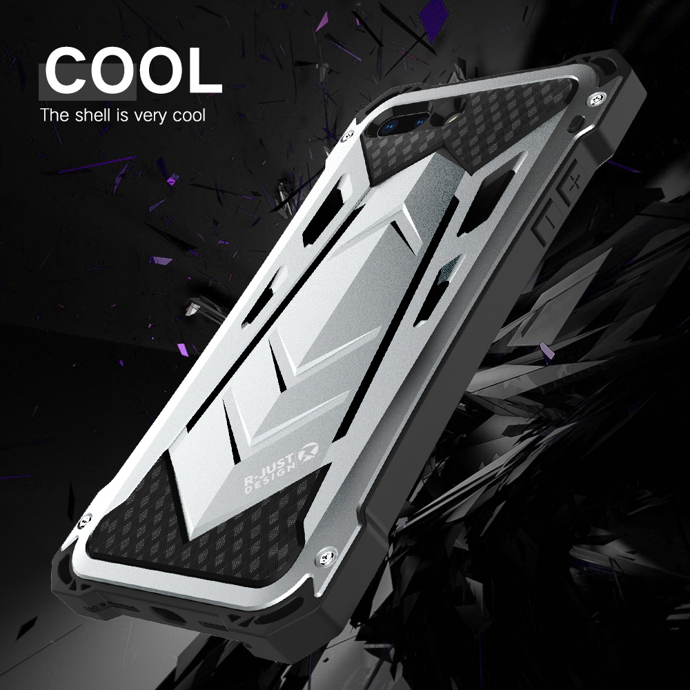 New Heavy Duty Case for iPhone 8 Doom Armor Metal Case for iPhone 7 7 plus Original R-just Shockproof Cover For iPhone 8 plus