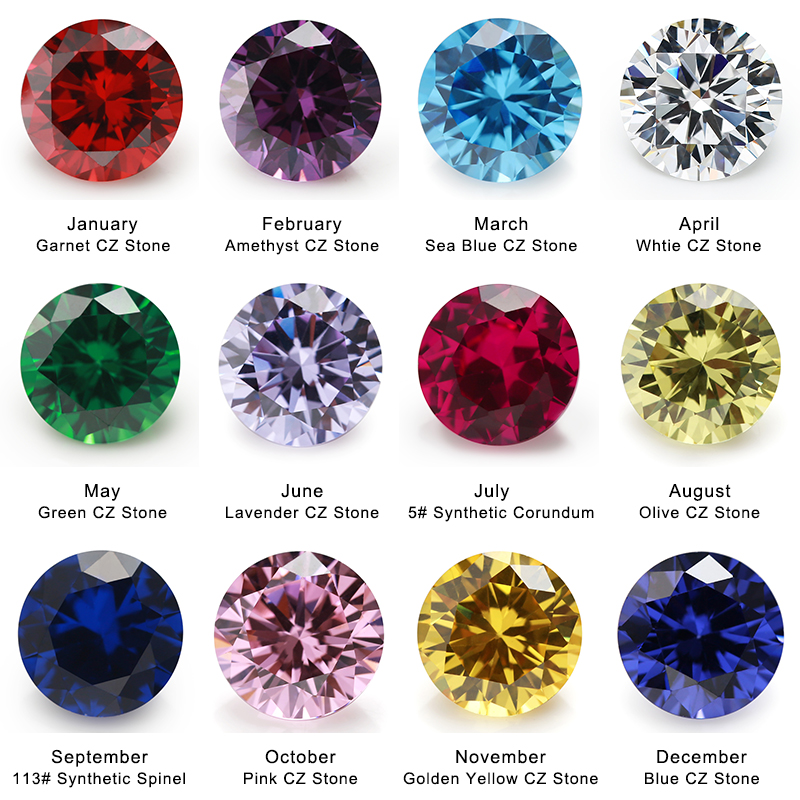 12pcs 4mm~10mm Birthday Stone 1pcs Per Colors Loose Round Cubic Zirconia CZ Gemstone Synthetic Spinel113# Corundum5#