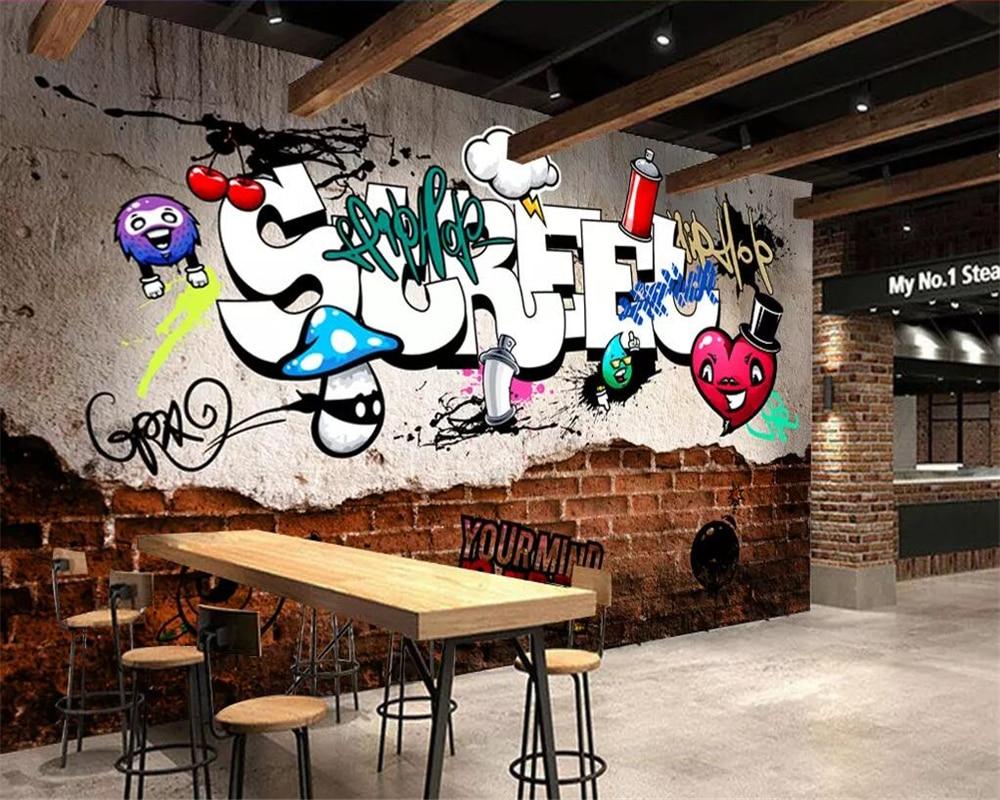 US $8 4 OFF Beibehang Custom Wallpaper 3d Murals European Style Retro Street Graffiti Brick 3d Wallpaper Bar Ktv Background Wall