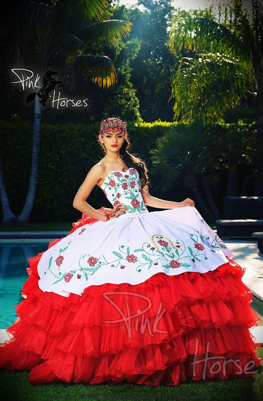 ae341f7f4a8 2016 Red And White Quinceanera Dresses Pageant Girls Formal Gowns dress for  15 years Robe de mariage with Embroidery Sweetheart