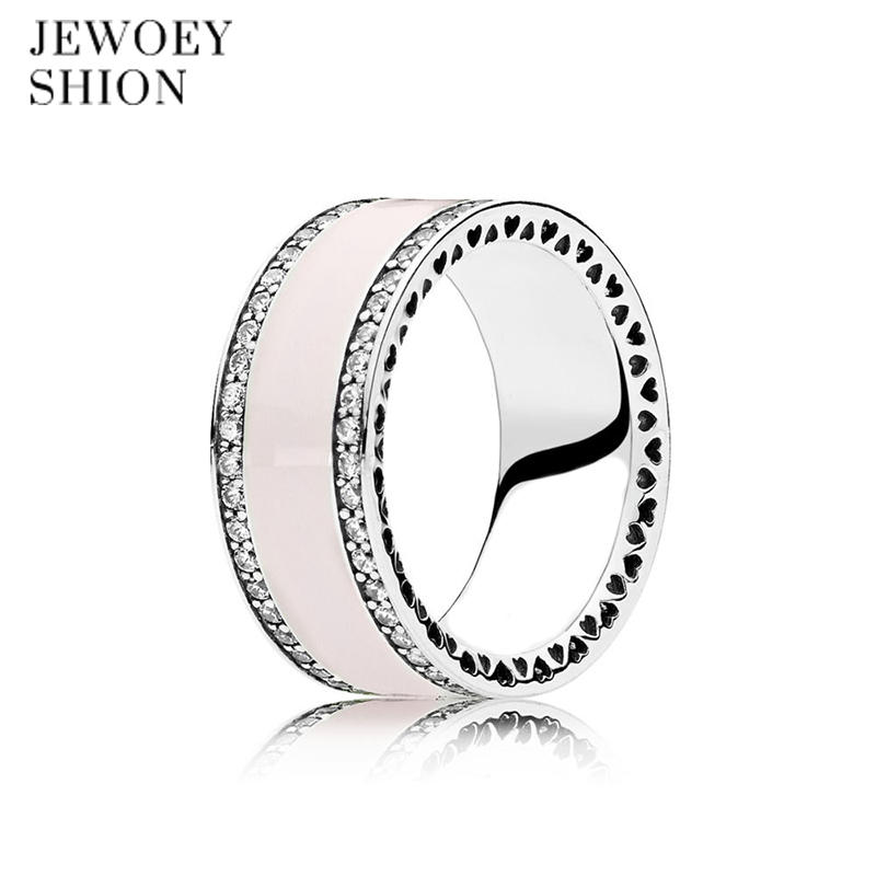 JEWOEY SHION Pink Enamel Silver-plated Fashion Popular Wide-brimmed Ring Pink Heart Romantic Exquisite Female Ring