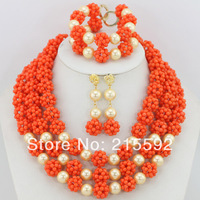 African Coral Beads For Wedding African Beads Jewelry Set Pink Fashion Indian Bridal Jewelry Set Wholesale Free Shipping CJ111