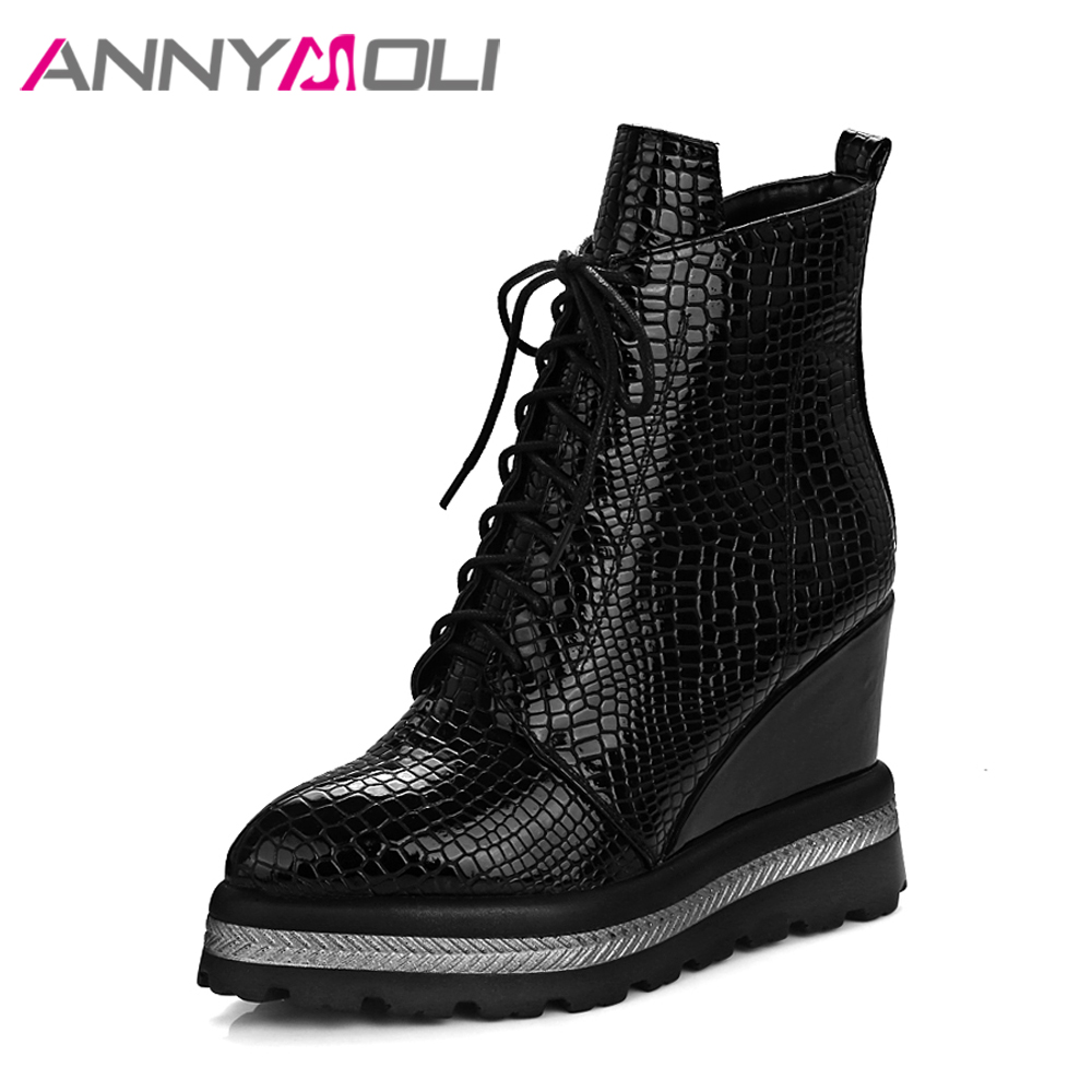 ANNYMOLI Winter Women Ankle Boots Platform Wedge Heels Boots Female High Heels Autumn Boots Shoes 2017 Size 42 Chaussure Femme wdzkn 2017 platform high heels wedge women shoes chaussure femme black white hidden heels elevator shoes winter casual shoes