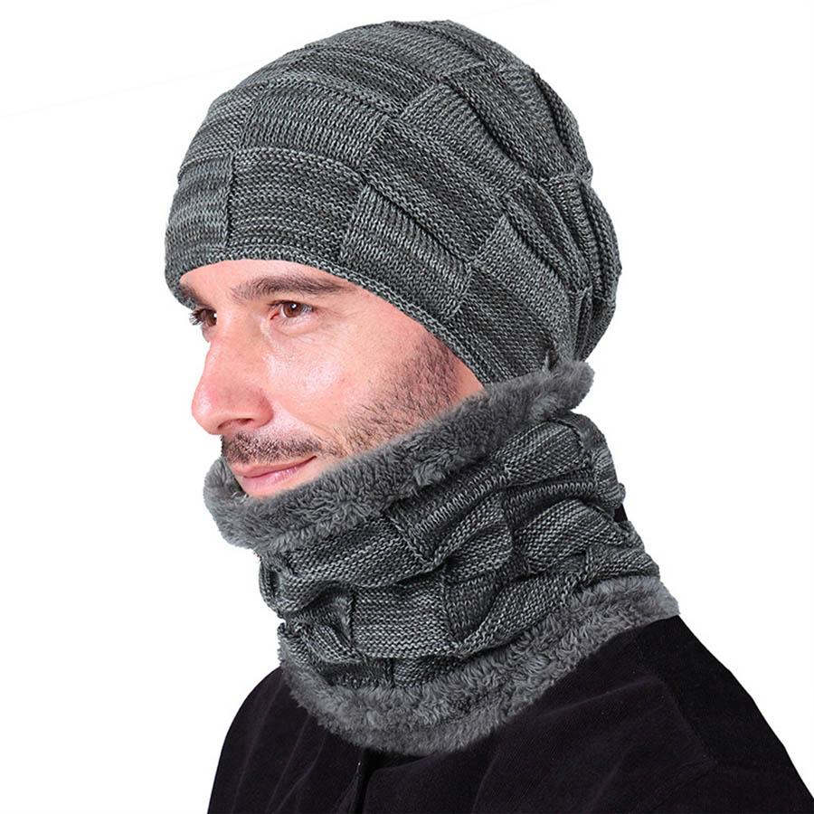 New Hat Scarf Set For Men Women Warm Knitted Plaid Winter Caps Fashion Couple Ski Cap Neckerchief Velvet Balaclava Dropshipping