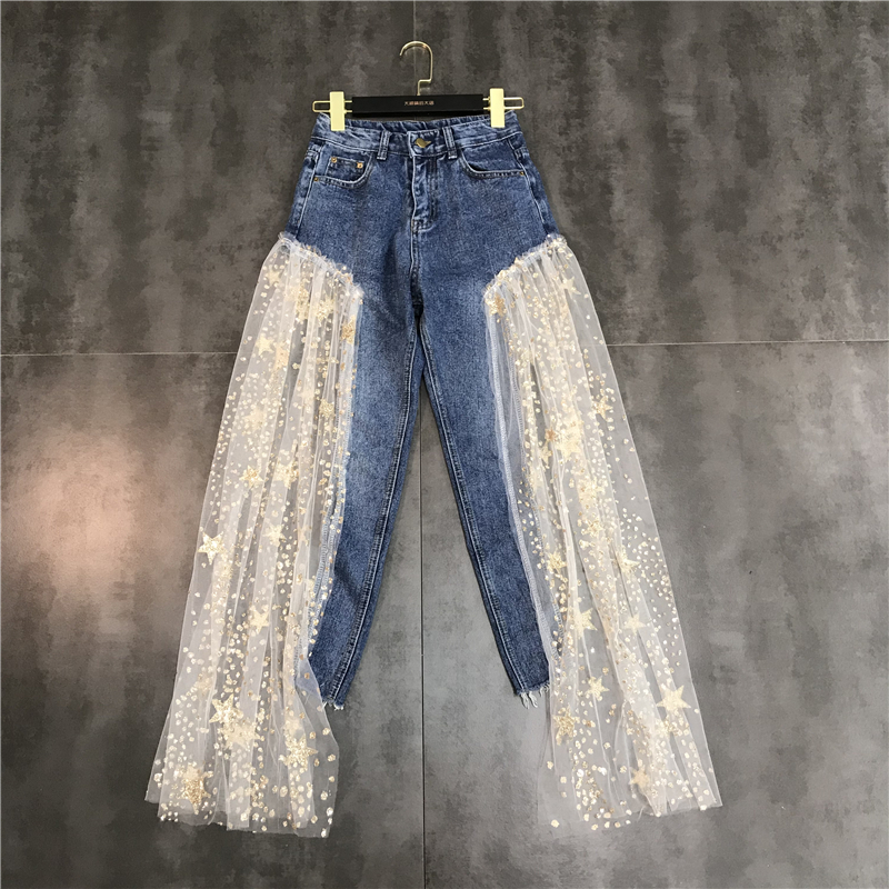EWQ / 2019 New Summer Spring Spliced Ankle-length High Drawstring Waist Women's Casual With Sequin Loose Pants Tide FQ544(China)